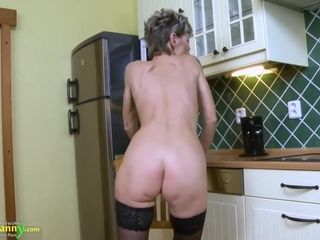 Slim Czech granny, Irenka got naked and masturbated in the kitchen, until she got satisfied
