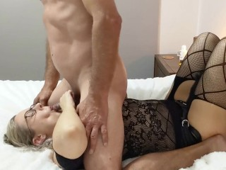 Amazing strapon pegging ends with her face plastered with hot cum - MIN MOO
