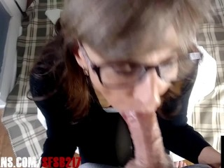 Granny Wearing Glasses Swallows Big Load From Big Cock