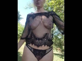 Running naked on the farm,  bouncing boobs