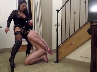 Latex Mistress fucking slave gimp on balcony
