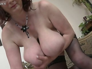 Mature housewife with huge tits and hungry cunt