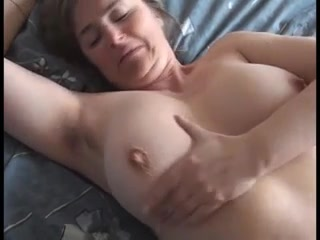 Buxomy boobs housewifey wifey displays off her large titties & humid cunt