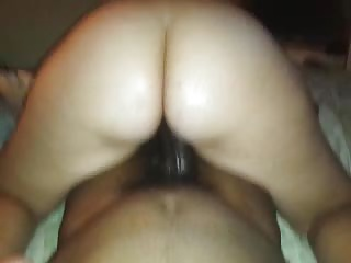 Wifey tickling the tip of my dick with her phat ass cheeks