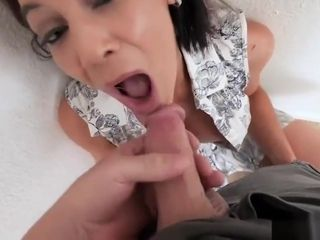 Trendy fat jugged mature step-mother blows my fat dick