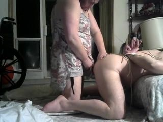 Using Tied Up Husbands Hole With Toys Before Pegging