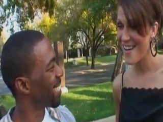 Skinny tanned granny enjoys making love with black guy
