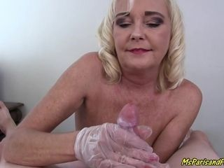 Masturbating And A Handjob With Her Latex Gloves