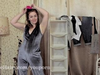 Gloria G tries on outfits and strips naked