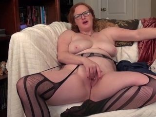 Red haired housewife, Morgan is playing with her big tits and that perfectly shaved pussy