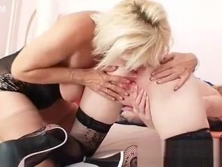 Platinum-blonde mummies smooching tonguing and fake penis porking