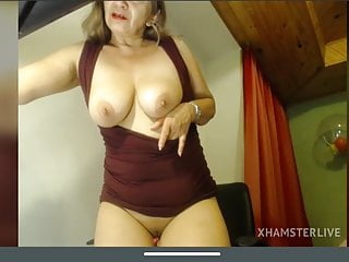 Sexy Latin Mature Angela in red dress shows body