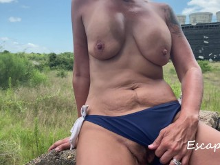 MILF Pissing at Abandoned Power Plant