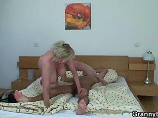 Busty old granny picked up by young stud