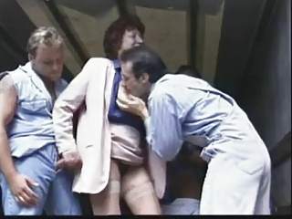 Granny and three young men
