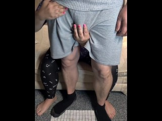 Step mom jerking son from behind after dad left