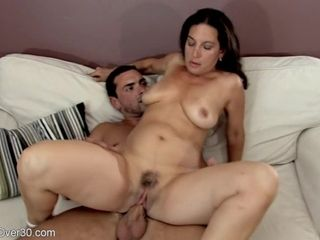 Single mother with massive mammories gets cum shot after having joy with her plaything guy
