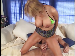 Pretty blonde with perky boobs gives head then gets sexy booty fucked for facial