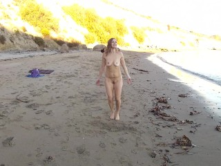 Joy at the bare Beach with public piss