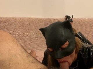 POV Catwoman makes hot blowjob with facial creampie and with cumplay FEMDOM LATEX HIGH HEELS AMATEUR