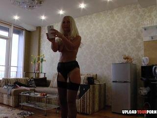Kinky blonde mature masturbates on the floor
