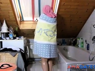 Mature haveing a ultra-cute bathtub