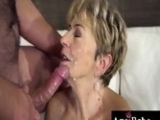 Granny Malya blows Rob off, before he slides his prick in her mature pussy