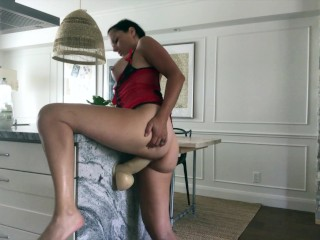 I'm busting my pussy with my big dildo