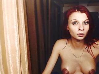 Lubed white preggie Russian web cam