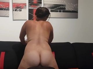 Chubby Wife With Hairy Pussy Rides His Face Until She Cums