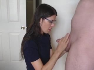 Handsome wifey in turtleneck and glasses deep throating schlong and taking humungous facial cumshot