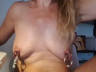 nippleringlover sitting naked at office playing with wide open pierced pussy & huge pierced nipples