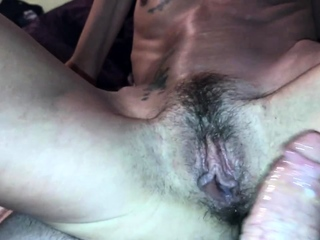 Skinny tattooed wife with hairy pussy riding creampie quicki