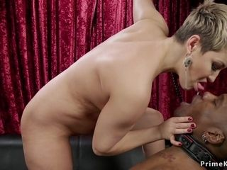 Full-Breasted mommy made dark-hued stud gobble her cooch