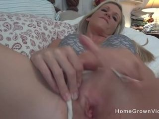 Huge-titted blond housewife jacking then throating dinky