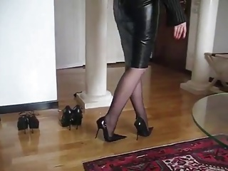 Leather mature on stilettos
