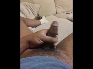 Jerking my dick hard but no cum