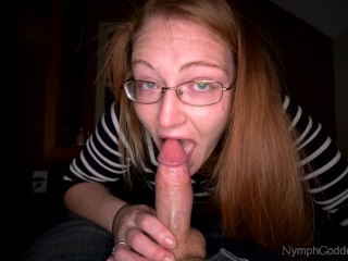 Redhead Ivy McNea gives a sloppy deepthroat blowjob and takes a throatpie and swallows cum POV 4K