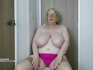 Sally in and out of her pink tankini