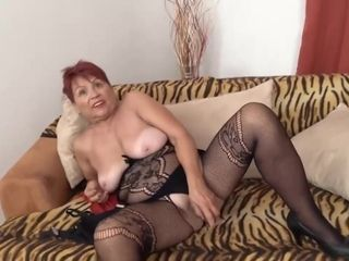 Czech granny is extremely horny and plans to masturbate in front of the camera, until she cums