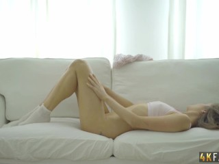 'Hot Kortney soothes the desire for cock herself by rubbing her pussy till she cums.'
