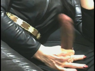 Smoking Wife in Long Red Nails Torture Handjob Cumshot Fountain