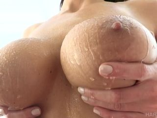 Hot Becky Bandini - MILF with big boobs gets cum on tits after sex