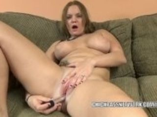 """""""Horny blonde Tonya Sinn uses a big toy on her wet pussy"""""""