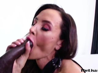 Huge-boobed cougar Lisa Ann backside drilled by big black cock before facial cumshot popshot