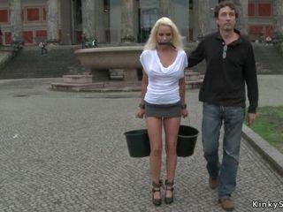Full-Breasted German platinum-blonde had fuckfest outdoor