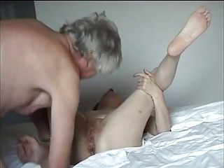 Grandpa creampir pussy and eats it