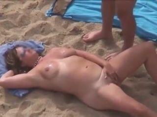 Mature on beach spunk squirt