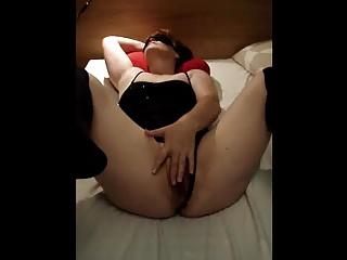 Blinded wife masturbating