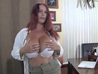 British socking bosom grown-up redhead